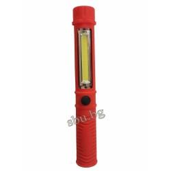 Фенер с лампа COB LED мини с магнит и закач. 5W 3xAAA