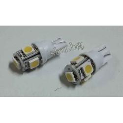 Крушка авто LED бяла 5диода без цокъл къса 12V 2бр.
