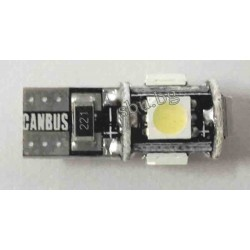 Крушка авто LED T10 5диода 12V CANBUS 2бр