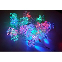 Украса коледна LED кристал Кубче многоцв. D13-025