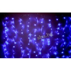 Украса коледна LED Завеса звезда 120л сини 2,5м D9-003