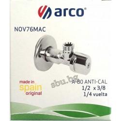 """Кран сферичен ъглов АнтиКалк 1/2""""-3/8"""" ARCO 76MAC"""