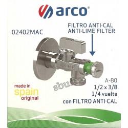 """Кран сферичен ъглов АнтиКалк с филтър 1/2""""-3/8"""" ARCO 02402MAC"""