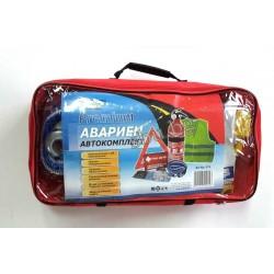 К-кт за кола PREMIUM аптечка+жилетка+пожарогасител,триъгълен,въже,ръкавици,кърпа 015